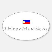 Filipino Girls Kick Ass Oval Decal