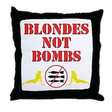 Blondes not Bombs Throw Pillow