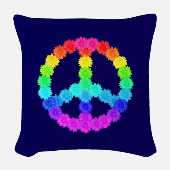 Rainbow Flower Peace Sign Woven Throw Pillow