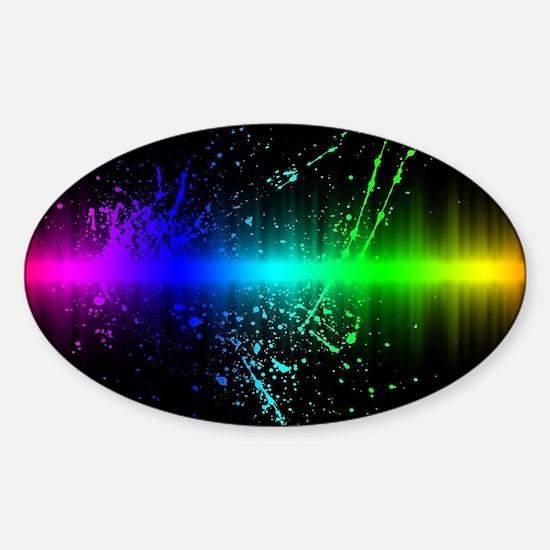Rainbow Soundwave Sticker (Oval)