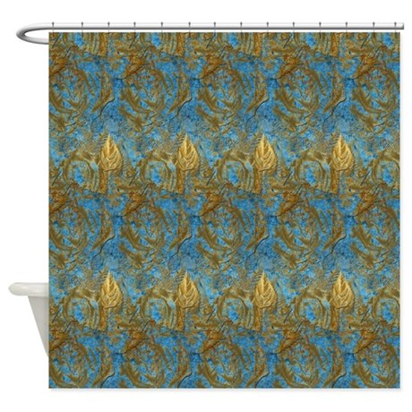 royal gold and blue damask shower curtain by admin cp26591299