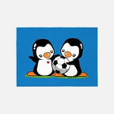 Soccer Penguins 5'x7'Area Rug