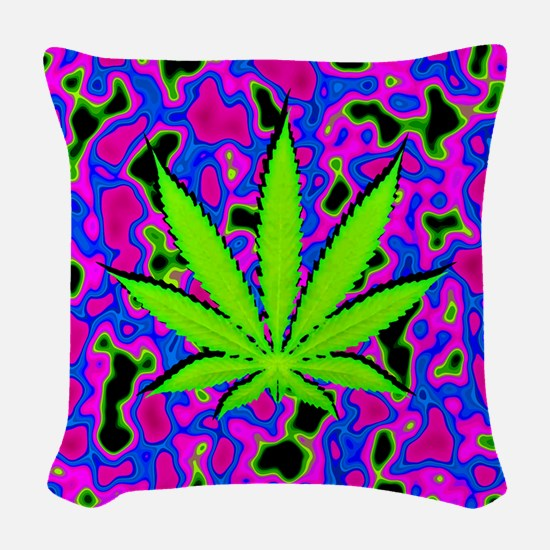 Psychedelic Pot Leaf Woven Throw Pillow