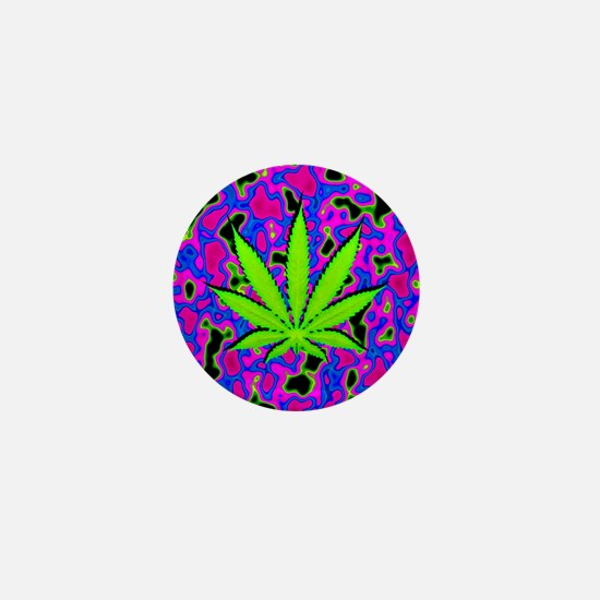 Psychedelic Pot Leaf Mini Button (100 pack)