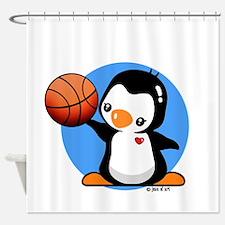 Basketball Penguin Shower Curtain