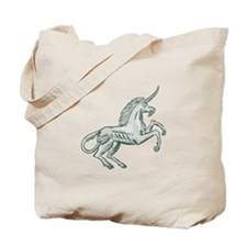 Unicorn Horse Prancing Side Etching Tote Bag