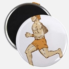 Barefoot Runner Running Side Etching Magnets