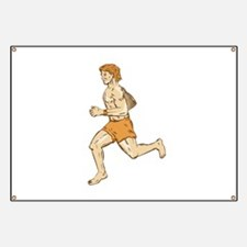 Barefoot Runner Running Side Etching Banner
