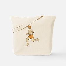 Barefoot Runner Running Side Etching Tote Bag