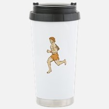 Barefoot Runner Running Side Etching Travel Mug