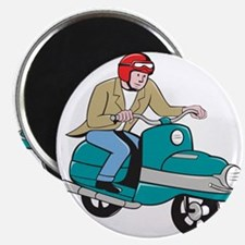 Rider Riding Scooter Isolated Cartoon Magnets