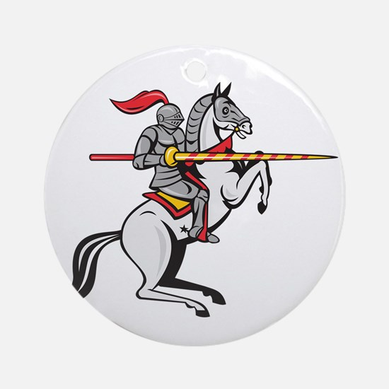 Knight Lance Steed Prancing Isolated Cartoon Round