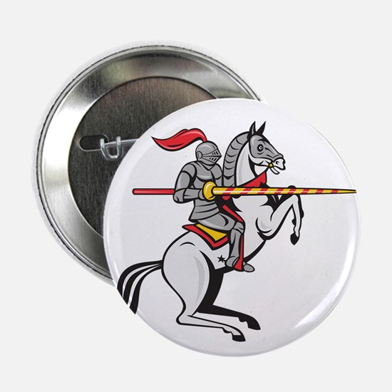 Knight Lance Steed Prancing Isolated Cartoon 2.25""