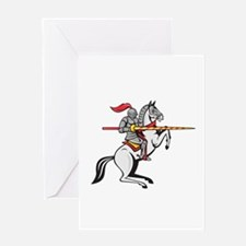 Knight Lance Steed Prancing Isolated Cartoon Greet