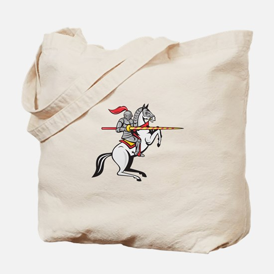 Knight Lance Steed Prancing Isolated Cartoon Tote