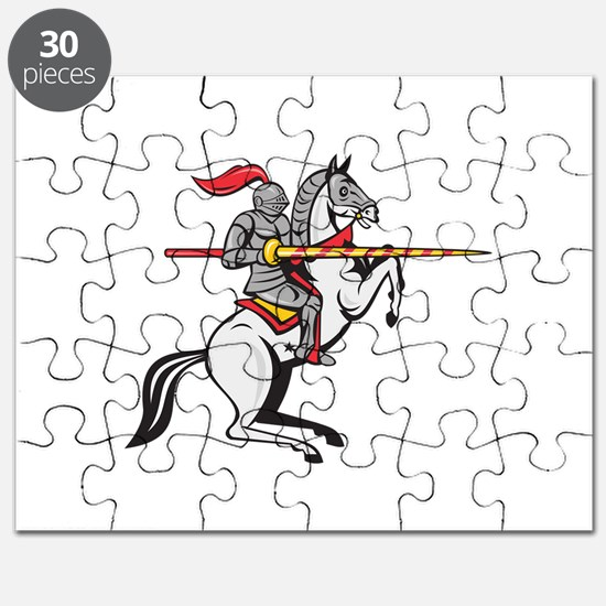 Knight Lance Steed Prancing Isolated Cartoon Puzzl