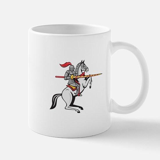 Knight Lance Steed Prancing Isolated Cartoon Mugs