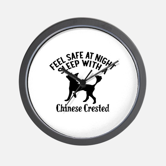 Sleep With Chinese Crested Dog Designs Wall Clock