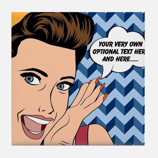 Chevron and Woman Pop Art Personalize Tile Coaster