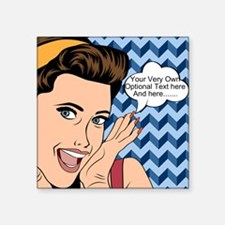 "Chevron and Woman Pop Art P Square Sticker 3"" x 3"""