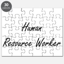 Human Resource Worker Artistic Job Design Puzzle