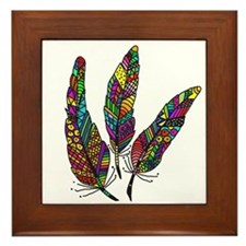 Feather Sketch 1 Framed Tile