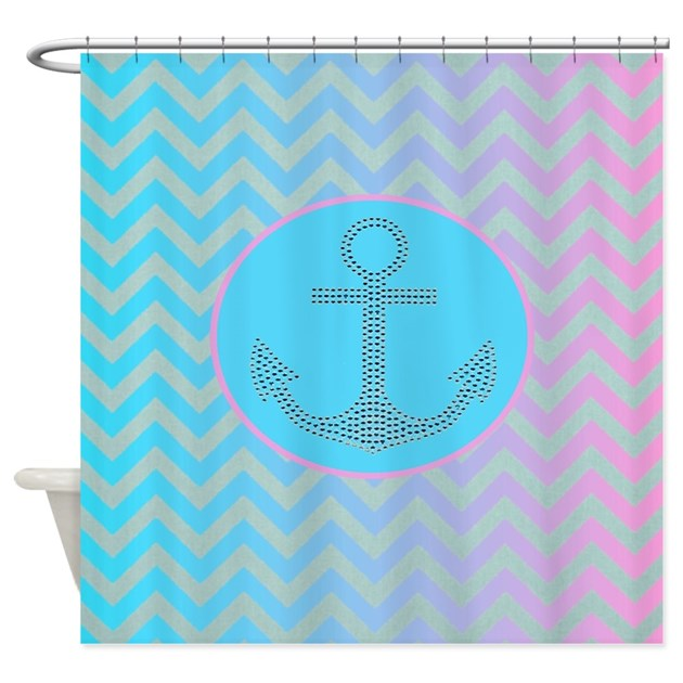 Turquoise Pink Ombre Chevron Shower Curtain By Listing
