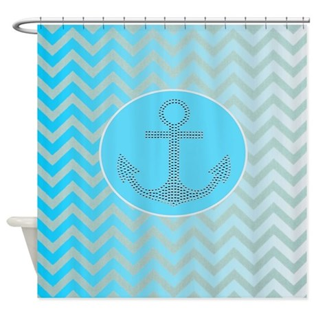 Anchor Ombre Turquoise Chevron Shower Curtain By Listing