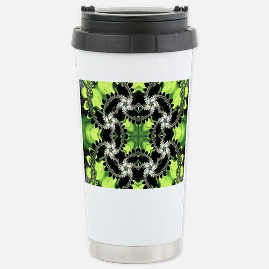 Fragments Pattern Green Stainless Steel Travel Mug