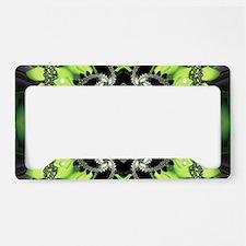 Fragments Pattern Green License Plate Holder