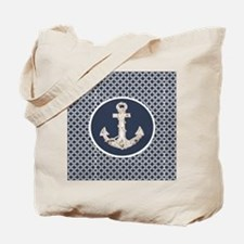 navy blue geometric pattern anchor Tote Bag