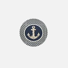 navy blue geometric pattern anchor Mini Button