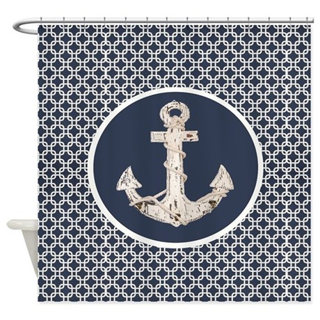 Navy Blue Geometric Pattern Anchor Shower Curtain By