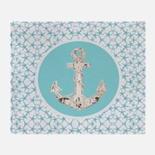 turquoise star fish anchor Throw Blanket