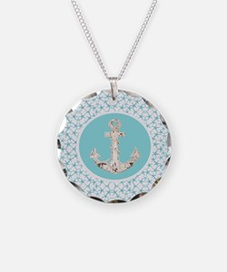 turquoise star fish anchor Necklace