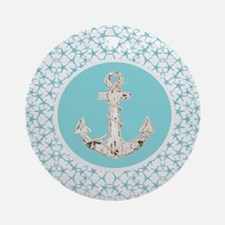 turquoise star fish anchor Round Ornament