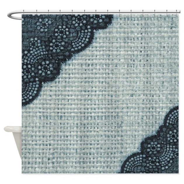 Ocean blue burlap and lace shower curtain by listing store for Burlap and lace bedroom