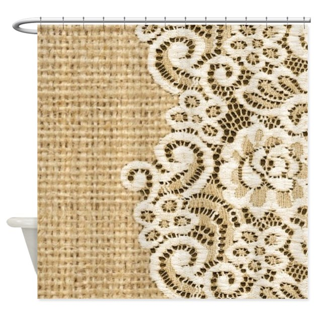 vintage rustic burlap and lace Shower Curtain by listing-store ...