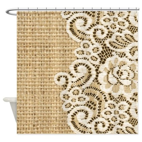vintage rustic burlap and lace shower curtain