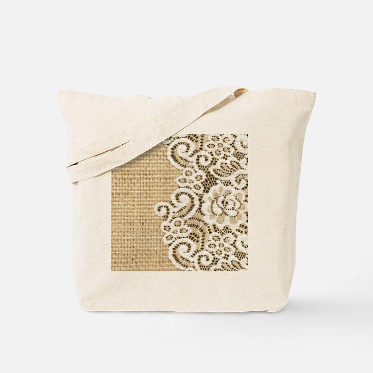 vintage rustic burlap and lace Tote Bag