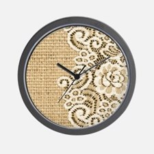 vintage rustic burlap and lace Wall Clock
