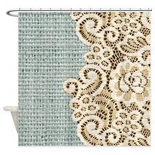 aqua vintage burlap and lace Shower Curtain