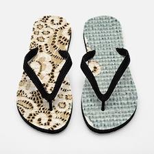 aqua vintage burlap and lace Flip Flops