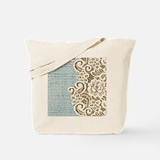 aqua vintage burlap and lace Tote Bag