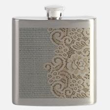 aqua vintage burlap and lace Flask