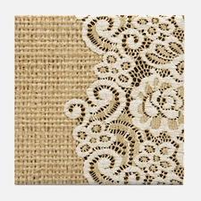 vintage rustic burlap and lace Tile Coaster