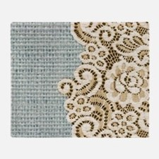 aqua vintage burlap and lace Throw Blanket