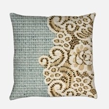 aqua vintage burlap and lace Everyday Pillow