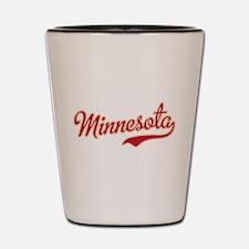 Minnesota Script Crimson and Gold Shot Glass