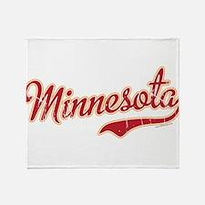 Minnesota Script Crimson and Gold Throw Blanket